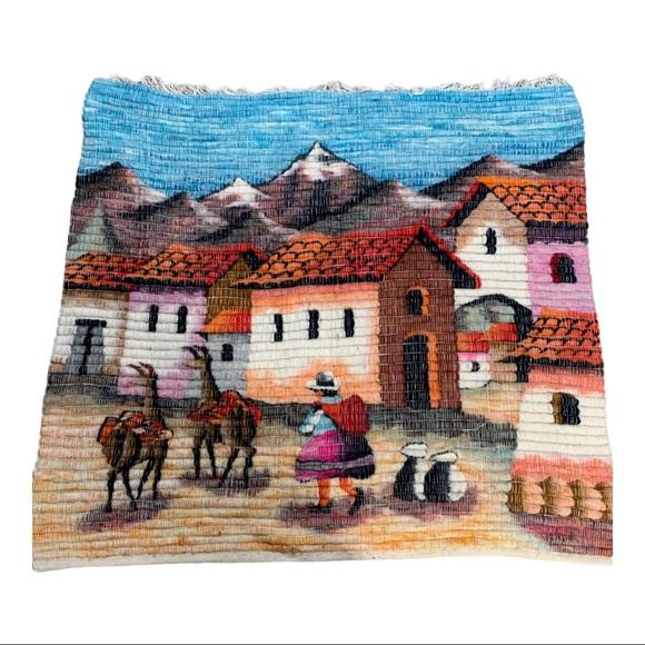 """Woven wool tapestry Alpaca Peru 32"""" X 34"""""""